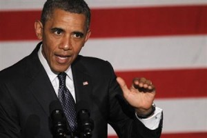 U.S. President Barack Obama delivers remarks at a Democratic party fundraiser in Chicago