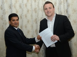 Guyana franchise partner Dr Ranjisingh 'Bobby' Ramroop (left)and CPL CEO Damien O'Donohoe.