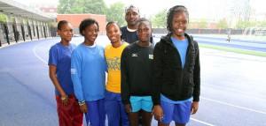 Springer Memorial relay team with coach Sean Dupigny.