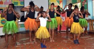 St. Silas students dancing to Waka Waka, a song by Columbian singer Shakira.
