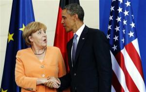 President Barack Obama meets German Chancellor Angela Merkel.