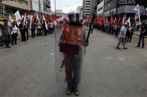 Turkey protesters line a street in Istanbul.