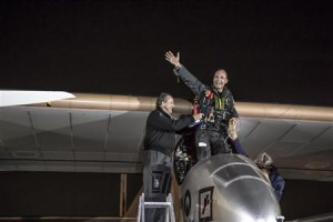 Co-founder of Solar Impulse Andre Borschberg (left) celebrates with co-pilot Bertrand Piccard after landing Solar Impulse's HB-SIA prototype at Dulles International Airport in Dulles, Virginia yesterday.