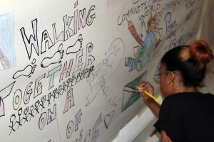 Youth from all the island contributed to the art on the walls.
