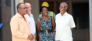 (Left to Right) Minister Boyce, Company Associate of the construction company Nicholls and Edgehill Paul Nicholls, Programme Coordinator of the Barbados Diabetes Foundation Norma Springer and Chairman of the Diabetes Foundation Dr. Oscar Jordan.