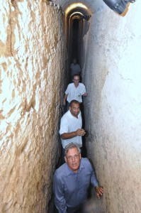 Minister Sealy (centre) tours the Garrison tunnel system