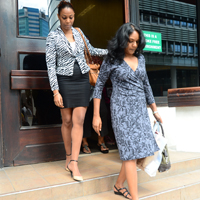Dr. Sheila Rampersad (right) and Anika Gumbs-Sandiford leaving Guardian offices today.