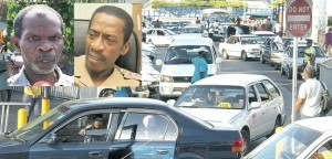 Taxis in Kingston. (INSET) Egerton Newman and Superintendent Radcliff Lewis.