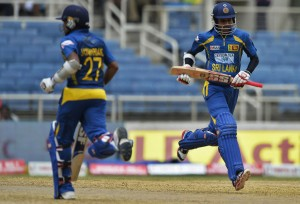 Sri Lanka's Mahela Jayawardene (left) and Upul Tharanga put on 213 for the opening wicket to bat India out of today's ODI in Jamaica.
