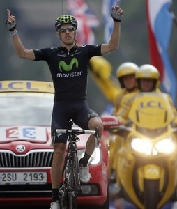 Rui Costa on his way to taking today's Tour de France 19th stage.