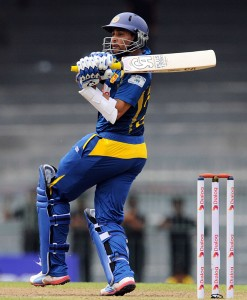 Tillakaratne Dilshan on the go today against South Africa.