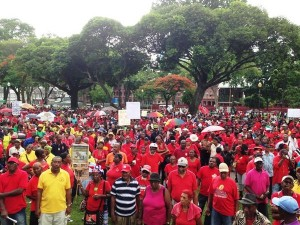 Protesters on the streets of Port of Spain today.