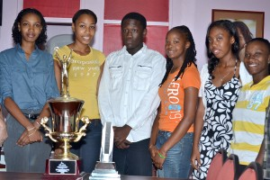 Hip! Hip! Horray! (From left to right)Allyson Welch-Pinder, Desire Durant, Jonathan Alleyne, Shaniqua Quintyne, AsLaura Harisssain and Toni Wharton.