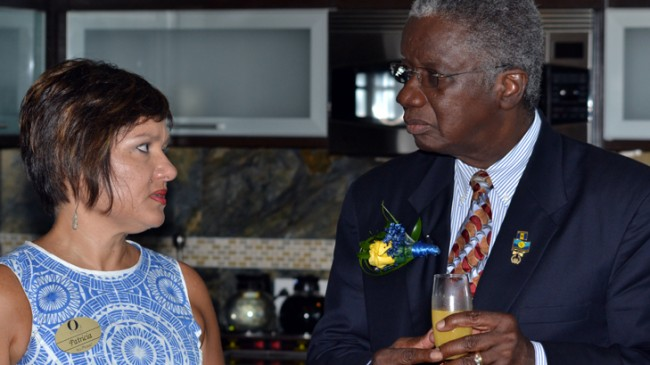 Former BHTA president Patricia Affonso-Dass in conversation with Prime Minister Freundel Stuart.           file photo)
