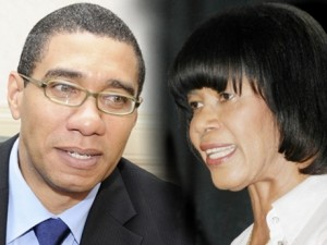 Prime Minister Portia Simpson Miller and Opposition Leader Andrew Holness