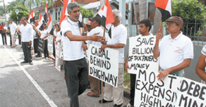Environmental activist Dr Wayne Kublalsingh with protesters.
