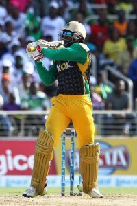 Chris Gayle on the attack during his blistering 51.