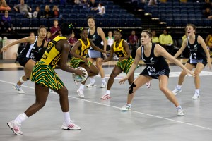 Action today during Jamaica's frenetic encounter with New Zealand.