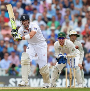 England's Kevin Pietersen battled to a half-century before being dismissed.