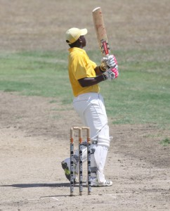 Combermere captain Nagee Holder pulls for a boundary during his top-score.