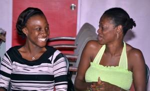 Toni Wharton and teacher Carmelia Alleyne sharing a laugh.
