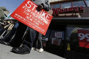 Fast food workers on the picket line.