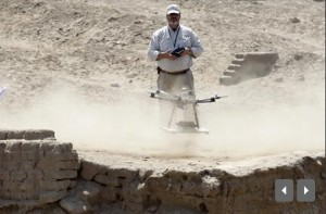 Luis Jaime Castillo, a Peruvian archaeologist with Lima's Catholic University and an incoming deputy culture minister, flies a drone to take pictures of an archaeological site.