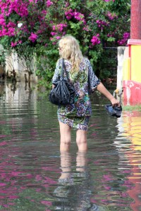 This lady makes her way through knee-high flood water at 1st Avenue, Dover Gardens.