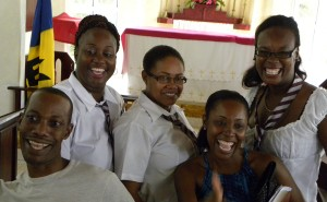 It was a Coleridge and Parry Affair when there now mature student came together. From Left, Organist at St. Philip-the-Less Church and former Head Boy at Coleridge and Parry School Ryan Boyce, Dacia Gilkes and Michell Leacock showed what was considered correct uniform and former Head Girl Meshell Carrington and Kimberly Gilkes also got in on the do