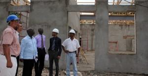 Officials examining the work at Erdiston.