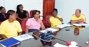 From left in foreground: Cheryl Haynes, Corine Jordan, muriel Walthrust and John maynard; as well as organisers of the programme: Group Human resources Administrator, tricia Brathwaite; and Group organisational Development manager, Monique Hassell.