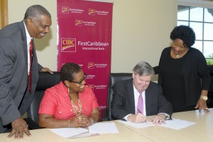 David Clarke, Chairman, Barbados Youth Business trust; marcia Brandon, managing Director of CeYe; rik Parkhill, Chief executive Officer, CIBC FirstCaribbean; and Debra King, Director Corporate Communications.
