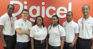 FROM LEFT: Digicel interns, Brendon Belle, Tebh O Huiginn, Najla King, Gina-Ann Trotman, Robin Lewis and Tyler Belle.