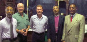 Among those present at St. Michael's Cathedral today were (from left) Anglican Church trustee Dr. Hartley Richards,Senator Professor Henry Fraser, publisher Keith Miller, Bishop Dr. John Holder and Sir Richard Cheltenham.