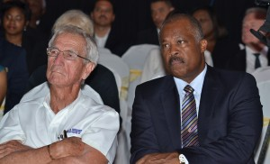 """Sir Charles """"CO"""" Williams (left) and Sir Hilary Beckles."""