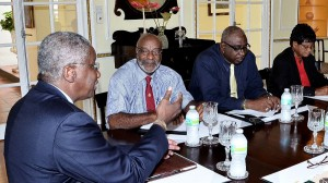 Prime Minister Stuart meets with Denis Clarke, Walter Maloney and Roslyn Smith of the NUPW.