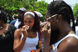 Tricia Chase and Amia Weekes could not hold back the tears today as they remembered their cousin, Campus Trendz victim Tiffany Harding at the commemorative service today for Tiffany and the five other victims of the tragedy.