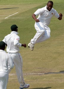 Tinashe Panyangara (right) celebrating another wicket.