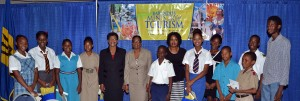 Winners of the Poster and Essay Competitions pose with officials of the Ministry of Tourism and the Ministry of Education.