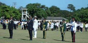Governor General Sir Elliot Belgrave and Prime Minister Freundel Stuart on the parade square.
