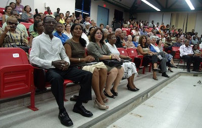 Some of the people attending the Cuban anniversary celebrations. Seated in front row, from left are Chartered Accountant, Peter Carter; Minister of Labour and Social Security, Ester-Byer Suckoo; Cuban Ambassador to Barbados, Lissette Perez; and Permanent Secretary in the Office of the Prime Minister, Sonja Welch.