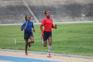 Victrix Ludorum Gabriela Yearwood showed great spirit on the track today as she led Red House to victory in the under-11 girls' 4x100 metres relay.