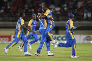 Barbados celebrating their NAGICO Super50 title win last week.