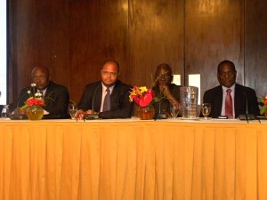 From left, Senator Jeptor Ince, PSA head Alex McDonald and BWU's Sir Roy Trotman at today's seminar.