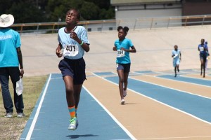 Janeerah Wiltshire of St James Primary showed great determination to win the under-13 400m.