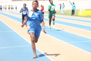 Record-breaker in the 100m Khadejah Straughan slamming the field in the under-13 girls' sprint.