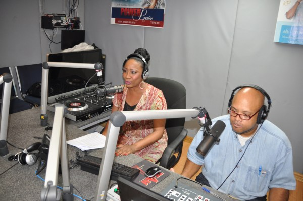 Carita Dee on air at CITA Radio alongside her hubby, who offers her technical support during her show.