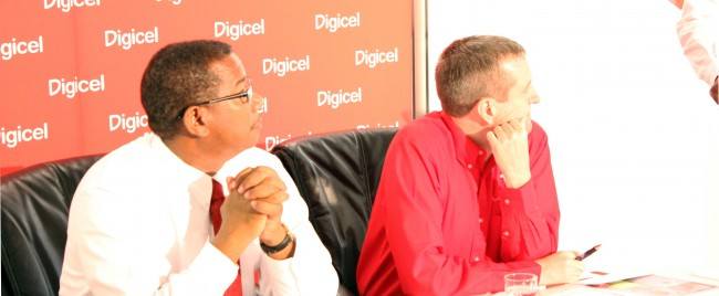 Digicel (Barbados) Limited commercial director Alex Tasker (left) and CEO Mark Linehan at yesterday's media briefing.