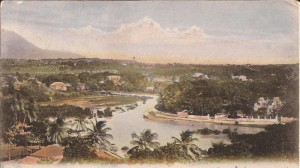 A 1910 hand-coloured postcard of an 18870 photo of the Constitution River.               (Picture courtesy of Dr Karl Watson.)