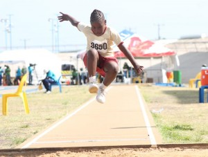 Kiara Steele of Hilda Skeene Primary as she won the under-nine girls' long jump.